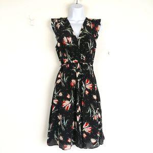 Rebecca Taylor Black Floral Silk Dress 8